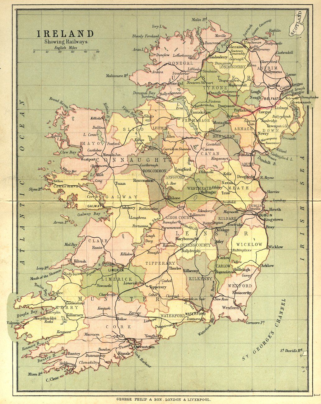 Map With Counties Of Ireland.Irish Counties